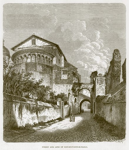 Street and Apse of San-Giovanni-e-Paolo. Illustration for Rome by Francis Wey (Chapman and Hall, 1875).