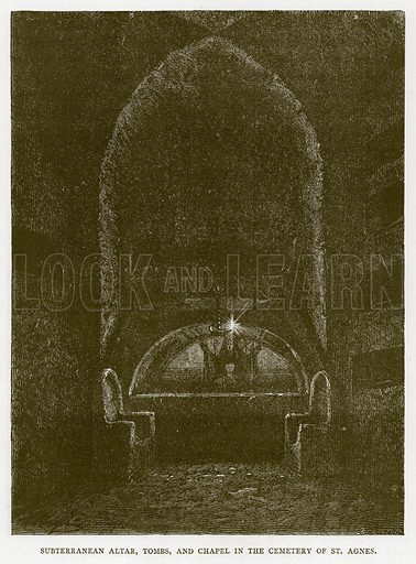 Subterranean Altar, Tombs, and Chapel in the Cemetery of St Agnes. Illustration for Rome by Francis Wey (Chapman and Hall, 1875).