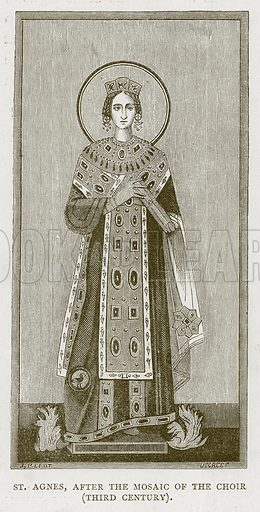 St Agnes, after the Mosaic of the Choir (Third Century). Illustration for Rome by Francis Wey (Chapman and Hall, 1875).