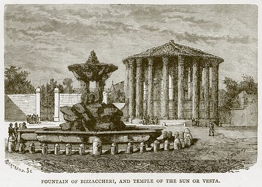 Fountain of Bizzaccheri, and Temple of the Sun or Vesta. Illustration for Rome by Francis Wey (Chapman and Hall, 1875).