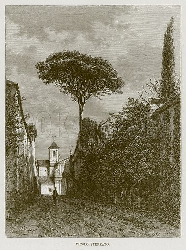 Vicolo Sterrato. Illustration for Rome by Francis Wey (Chapman and Hall, 1875).
