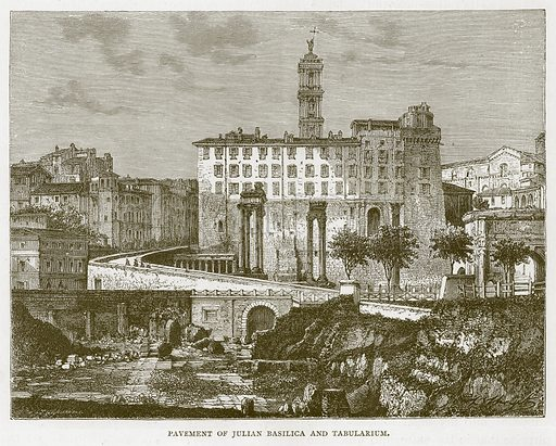 Pavement of Julian Basilica and Tabularium. Illustration for Rome by Francis Wey (Chapman and Hall, 1875).