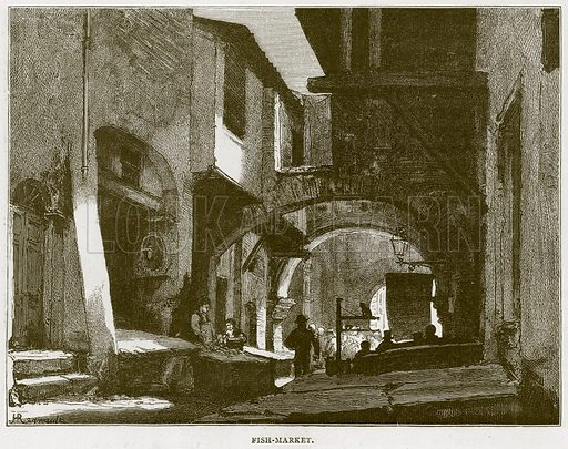 Fish-Market. Illustration for Rome by Francis Wey (Chapman and Hall, 1875).