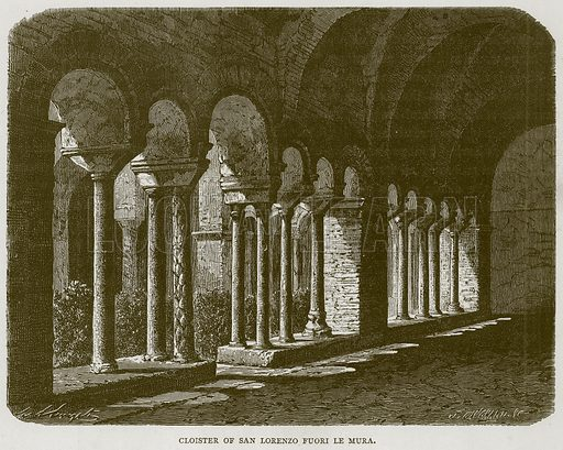 Cloister of San Lorenzo Fuori le Mura. Illustration for Rome by Francis Wey (Chapman and Hall, 1875).