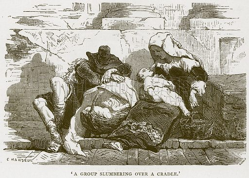 'A Group Slumbering over a Cradle.' Illustration for Rome by Francis Wey (Chapman and Hall, 1875).