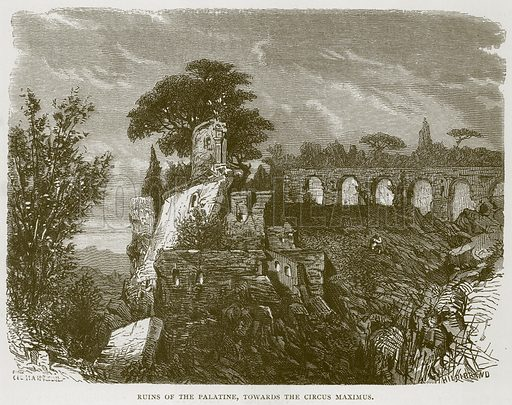 Ruins of the Palatine, towards the Circus Maximus. Illustration for Rome by Francis Wey (Chapman and Hall, 1875).