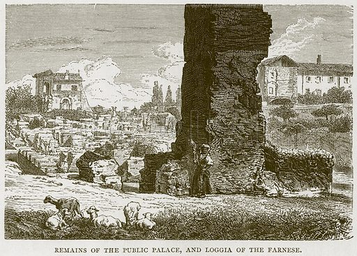 Remains of the Public Palace, and Loggia of the Farnese. Illustration for Rome by Francis Wey (Chapman and Hall, 1875).