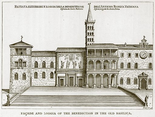 Facade and Loggia of the Benediction in the Old Basilica. Illustration for Rome by Francis Wey (Chapman and Hall, 1875).