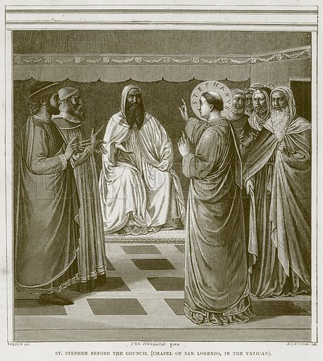 St Stephen before the Council (Chapel of San Lorenzo, in the Vatican). Illustration for Rome by Francis Wey (Chapman and Hall, 1875).