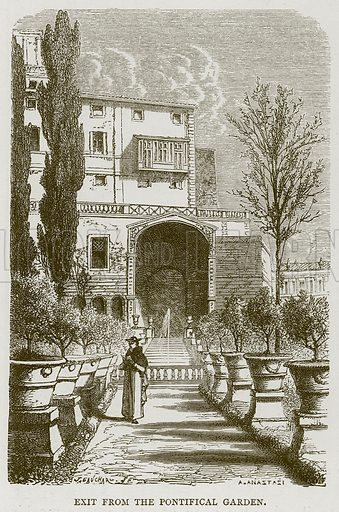 Exit from the Pontifical Garden. Illustration for Rome by Francis Wey (Chapman and Hall, 1875).