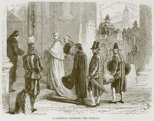 A Cardinal Entering the Vatican. Illustration for Rome by Francis Wey (Chapman and Hall, 1875).