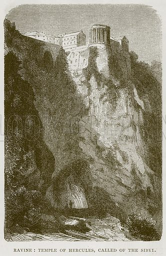 Ravine: Temple of Hercules, called of the Sibyl. Illustration for Rome by Francis Wey (Chapman and Hall, 1875).