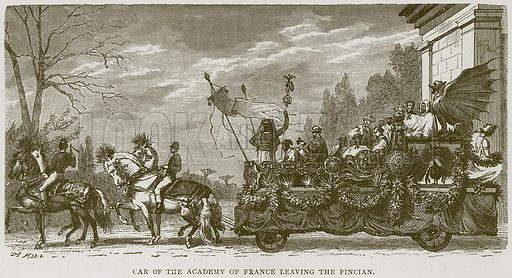 Car of the Academy of France leaving the Pincian. Illustration for Rome by Francis Wey (Chapman and Hall, 1875).