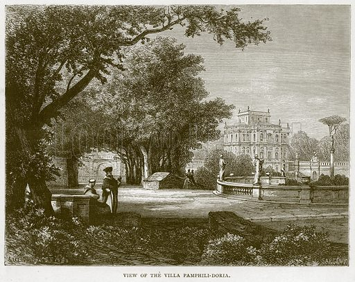 View of the Villa Pamphili-Doria. Illustration for Rome by Francis Wey (Chapman and Hall, 1875).