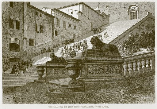 The Scala Coeli, the Great Steps of Santa Maria of the Capitol. Illustration for Rome by Francis Wey (Chapman and Hall, 1875).