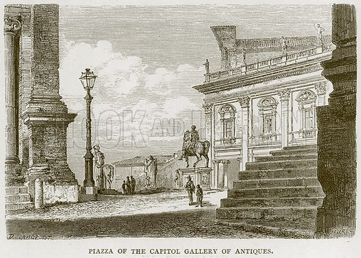 Piazza of the Capitol Gallery of Antiques. Illustration for Rome by Francis Wey (Chapman and Hall, 1875).