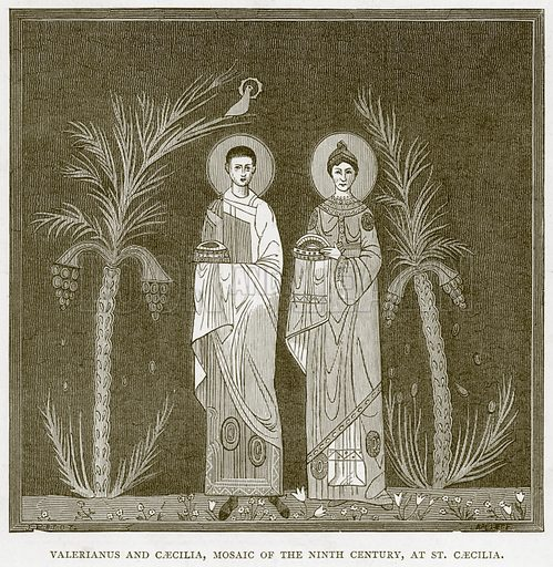 Valerianus and Caecilia, Mosaic of the Ninth Century, at St Caecilia. Illustration for Rome by Francis Wey (Chapman and Hall, 1875).