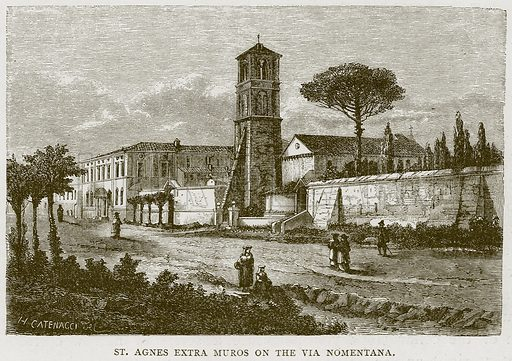 St Agnes Extra Muros on the Via Nomentana. Illustration for Rome by Francis Wey (Chapman and Hall, 1875).