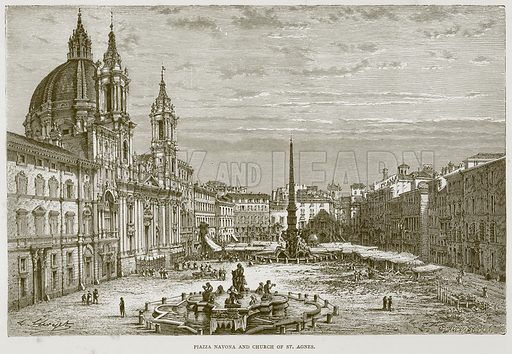 Piazza Navona and Church of St Agnes. Illustration for Rome by Francis Wey (Chapman and Hall, 1875).