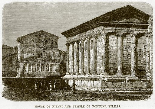 House of Rienzi and Temple of Fortuna Virilis. Illustration for Rome by Francis Wey (Chapman and Hall, 1875).