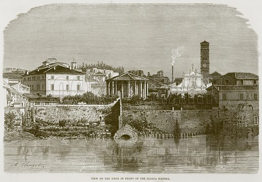 View on the Tiber in Front of the Cloaca Maxima. Illustration for Rome by Francis Wey (Chapman and Hall, 1875).