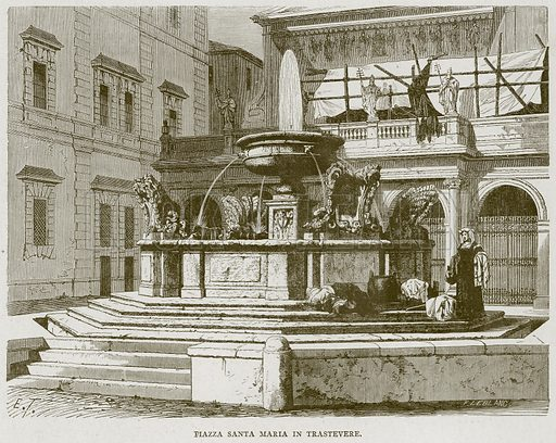 Piazza Santa Maria in Trastevere. Illustration for Rome by Francis Wey (Chapman and Hall, 1875).