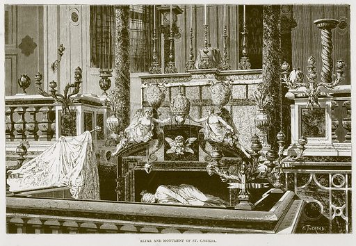 Altar and Monument of St Caecilia. Illustration for Rome by Francis Wey (Chapman and Hall, 1875).