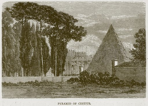Pyramid of Cestius. Illustration for Rome by Francis Wey (Chapman and Hall, 1875).