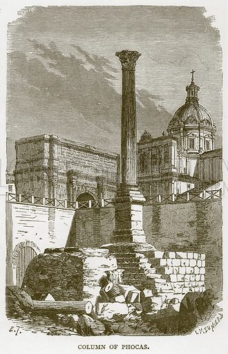 Column of Phocas. Illustration for Rome by Francis Wey (Chapman and Hall, 1875).