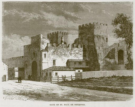 Gate of St Paul or Ostiensis. Illustration for Rome by Francis Wey (Chapman and Hall, 1875).