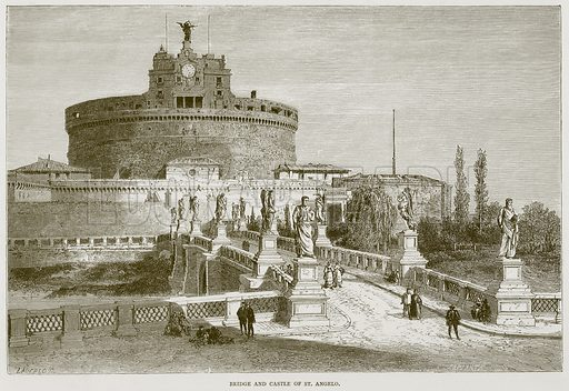 Bridge and Castle of St Angelo. Illustration for Rome by Francis Wey (Chapman and Hall, 1875).