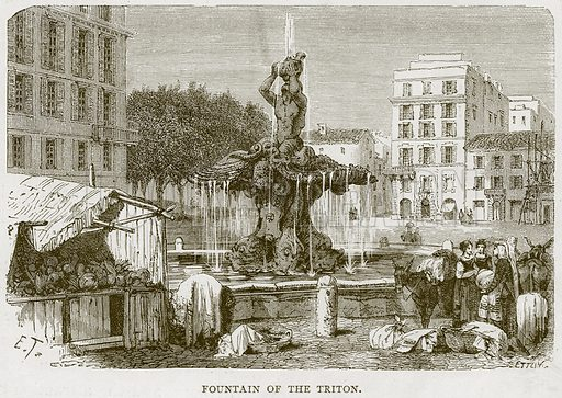 Fountain of the Triton. Illustration for Rome by Francis Wey (Chapman and Hall, 1875).