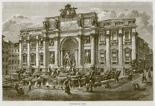Fountain of Trevi. Illustration for Rome by Francis Wey (Chapman and Hall, 1875).