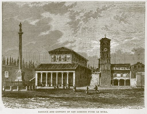 Basilica and Convent of San Lorenzo Fuori Le Mura. Illustration for Rome by Francis Wey (Chapman and Hall, 1875).