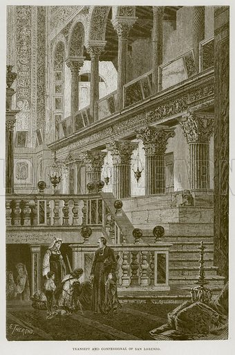Transept and Confessional of San Lorenzo. Illustration for Rome by Francis Wey (Chapman and Hall, 1875).