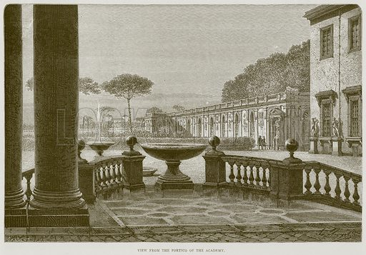 View from the Portico of the Academy. Illustration for Rome by Francis Wey (Chapman and Hall, 1875).