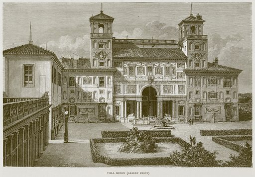 Villa Medici (Garden Front). Illustration for Rome by Francis Wey (Chapman and Hall, 1875).