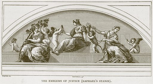 The Emblems of Justice (Raphael's Stanze). Illustration for Rome by Francis Wey (Chapman and Hall, 1875).