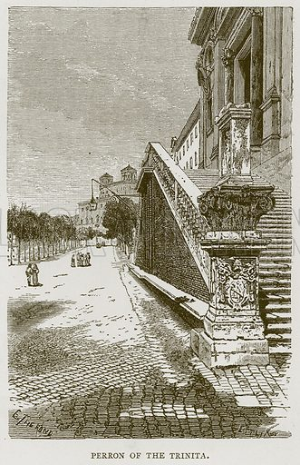 Perron of the Trinita. Illustration for Rome by Francis Wey (Chapman and Hall, 1875).