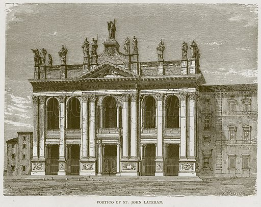 Portico of St John Lateran. Illustration for Rome by Francis Wey (Chapman and Hall, 1875).