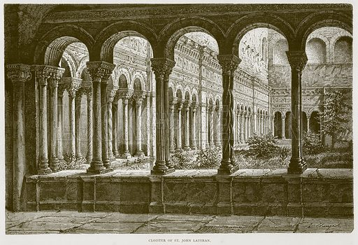 Cloister of St John Lateran. Illustration for Rome by Francis Wey (Chapman and Hall, 1875).