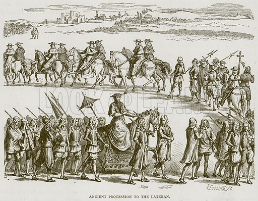 Ancient Procession to the Lateran. Illustration for Rome by Francis Wey (Chapman and Hall, 1875).