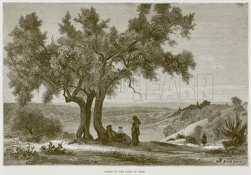 Banks of the Lake of Nemi. Illustration for Rome by Francis Wey (Chapman and Hall, 1875).