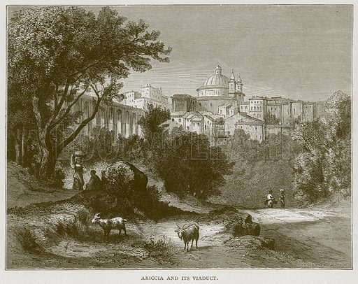Ariccia and its Viaduct. Illustration for Rome by Francis Wey (Chapman and Hall, 1875).