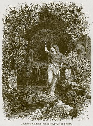Ancient Nympheum, Called Fountain of Egeria. Illustration for Rome by Francis Wey (Chapman and Hall, 1875).