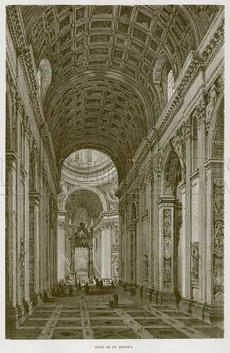 Nave of St Peter's. Illustration for Rome by Francis Wey (Chapman and Hall, 1875).