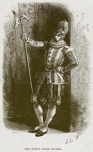 The Pope's Swiss Guard. Illustration for Rome by Francis Wey (Chapman and Hall, 1875).