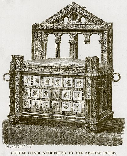 Curule Chair Attributed to the Apostle Peter. Illustration for Rome by Francis Wey (Chapman and Hall, 1875).