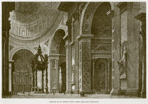 Interior of St Peter's (View taken from Left Transept). Illustration for Rome by Francis Wey (Chapman and Hall, 1875).