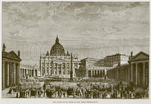 The Piazza of St Peter at the Great Benediction. Illustration for Rome by Francis Wey (Chapman and Hall, 1875).